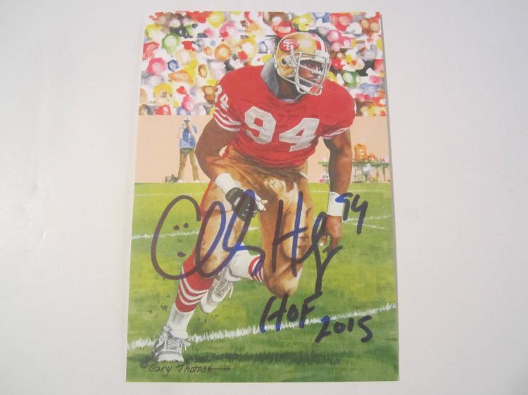 Charles Haley San Francisco 49ers HOF Signed Autographed Goal Line Art Card GA COA