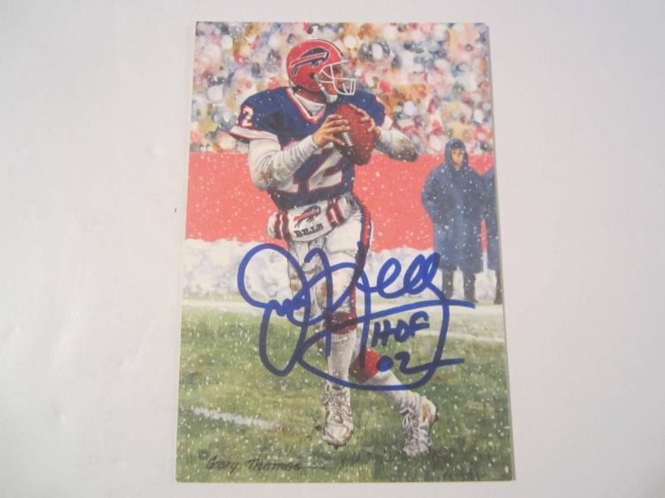Jim Kelly Buffalo Bills HOF Signed Autographed Goal Line Art Card PAAS COA