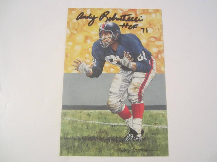 Andy Robustelli New York Giants HOF Signed Autographed Goal Line Art Card GA COA