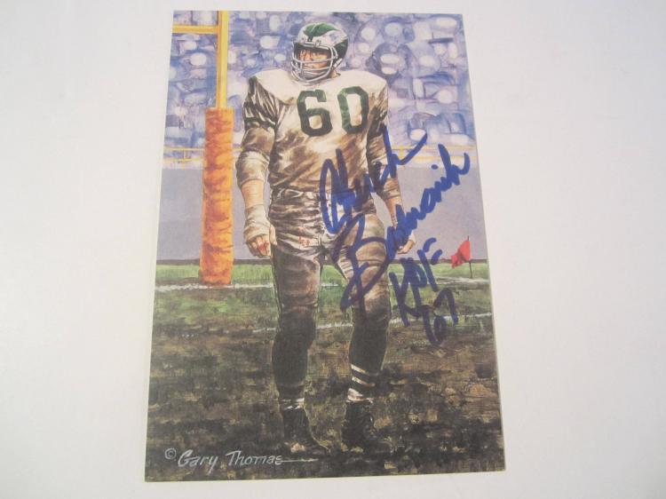 Chuck Bednarik Philadelphia Eagles HOF Signed Autographed Goal Line Art Card PAAS COA