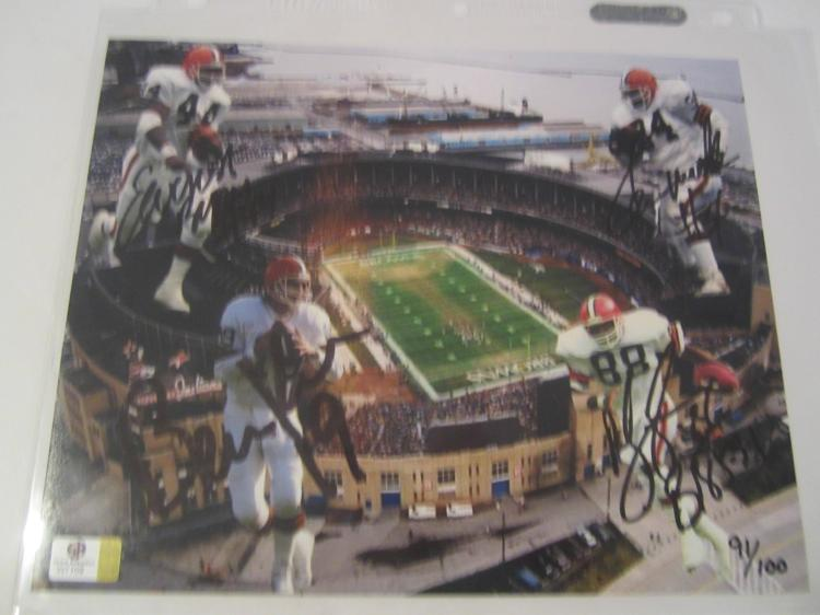 KOSAR/LANGHORNE/BYNER/MACK Cleveland Browns Hand Signed autographed 8x10 color photo GAI W COA
