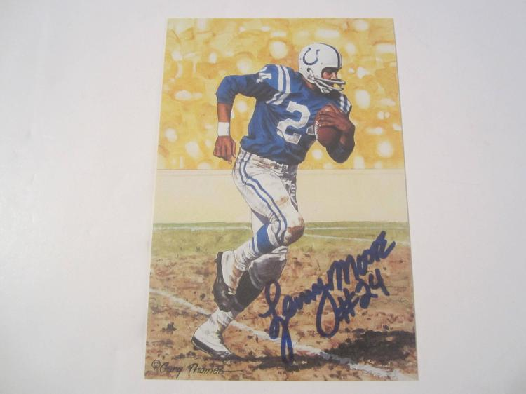 Lenny Moore Baltimore Colts HOF Signed Autographed Goal Line Art Card GA COA