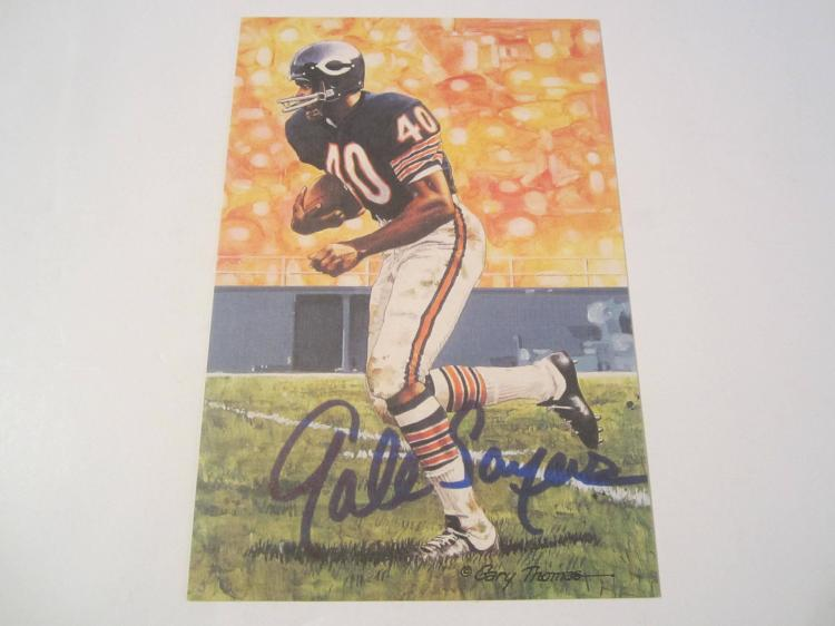 Gale Sayers Chicago Bears HOF Signed Autographed Goal Line Art Card COA