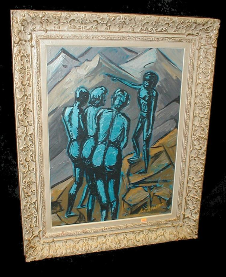 Hardboard Panel For Painting ~ Mid th century expressionist painting on masonite panel d
