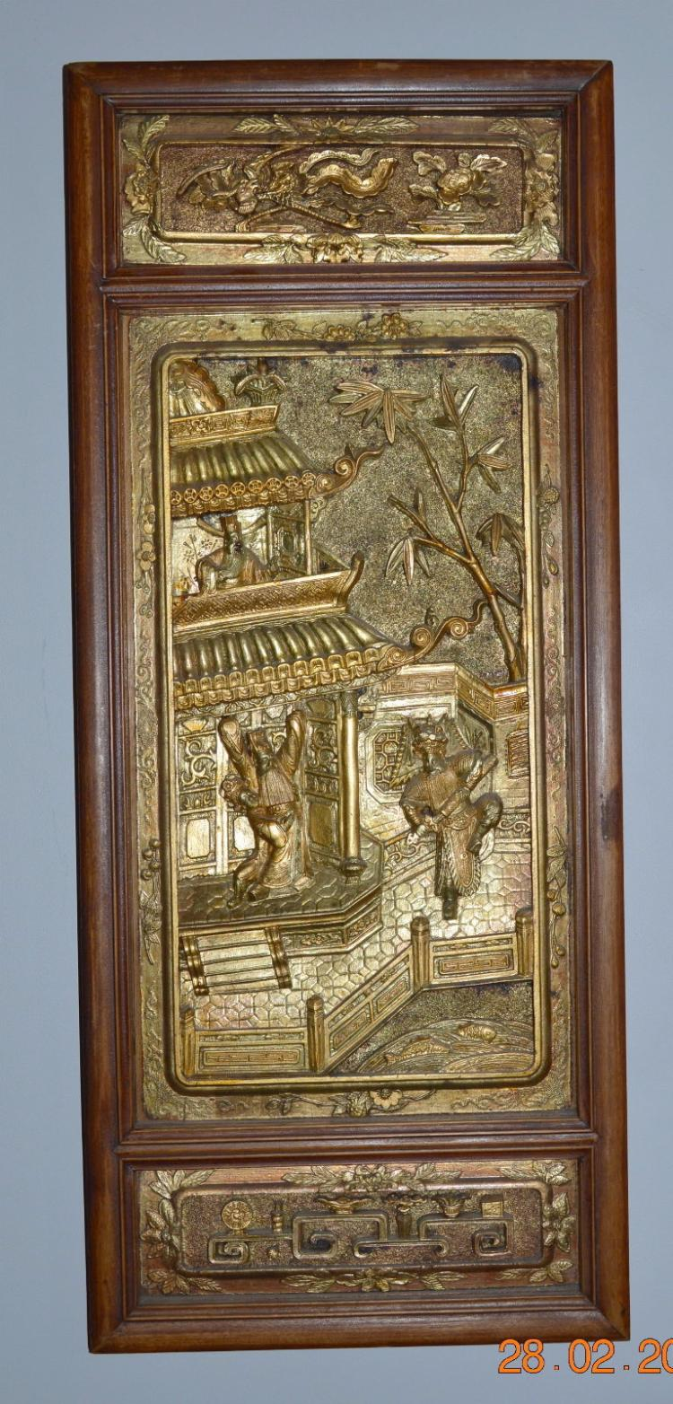 Chinese wood panel deeply carved and gilded opera scene