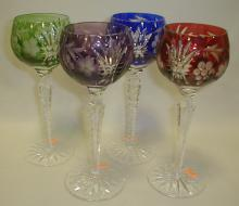 Set of four Bohemian cut to clear crystal goblets. 8.25