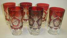 Six vintage Bohemian ruby cut to clear tumblers. 5.25
