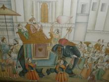 Indian painting depicting a procession a dignitary on elephant with subjects.. on frame is 22.25 x 28.25