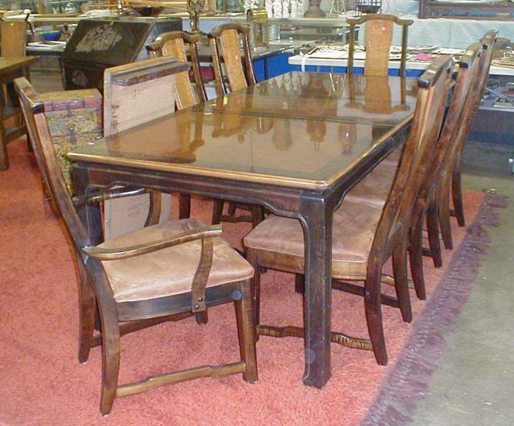 Asian style dining table and seven chairs minimum 150 for Asian style dining table and chairs