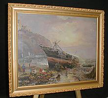 Painting on canvas of a coastal scene: depicts people pilfering through cargo of beached shipwreck. Unsigned. Dent and pant blemish on upper right corner. 16x20
