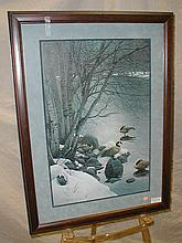 Stephen Lyman signed photo litho print of Canadian geese 1416/1500. Frame is 26 x 35