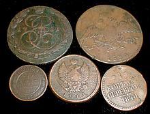Five Russian Coins: 1840 Czar Nicholas 1 kopek, 1834 10 Kopek, 1811 2 Kopek, 1888 1 Kopek, 1781 5 Kopek.