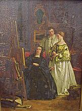 Victor Joseph Chavet (1822- 1922, French) Oil on panel of interior scene of three people examining an artist's work. Signed and dated 1858. The gold frame is 16.25 x 19.25. Note crazing and section of paint missing. See photos