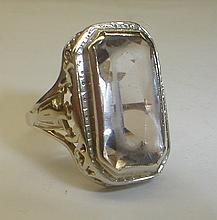 Unmarked Deco filigree ring size 5 1/2