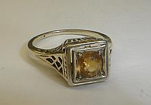 Deco 14k gold filigree ring with yellow stone. Size 5 1/2 total weight 2.3 grams