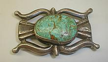 Southwest cast silver belt buckle with turquoise. 3 x 2.5