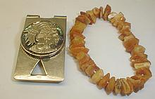 Natural amber stretch bracelet and Mexican sterling silver money clip