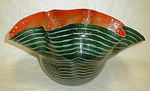 Large free form art glass bowl. 19
