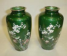 Pair of Japanese Nekka green cloisonne vases. 7 1/8