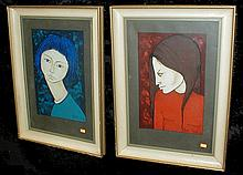Silvere Croix (French 20th c.) Two acrylic portrait paintings of young women. Signed and dated 1961 lower left. Framed Under glass. 19.25 x 12.75