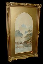 19th century landscape watercolor of a lake before mountains with boats. Displayed under glass in gold frame with arched matting. Signed and dated 1880 lower left. Frame is 27