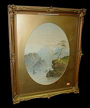 19th Century landscape watercolor of lake before mountains with boats and castle. Unsigned. Frame is 19.25 x 23