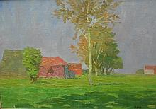 Russian impressionism landscape oil painting of farm buildings in field. Framed under glass. Show area 18 x 12.5