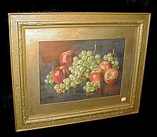 Still life oil painting of grapes and apples. Signed lower left