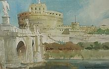 Robert L. Durham watercolor of Castle San Angelo in Rome. Show area 19.5 x 12.5