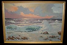 Oil on canvas of ocean surf at sunset. Signed Carter 58. 26 X 37