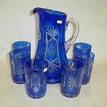 Cobalt glass cut to clear drink ware set with pitcher and six 4
