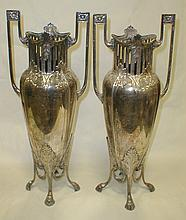 Pair of silver plated vases in the style of WMF Jugendstil Art Nouveau. Some dents. One handle loose at solder joint. 18