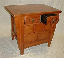 CHINESE WOOD CONSOLE ALTAR TABLE. TWO DRAWERS AND HIDDEN COMPARTMENT. 37.25