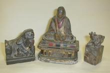 Three Chinese figures: 1)fine carved wood seated Lohan, lacquered and gilded over gesso base, some finish missing, signed, 5.25