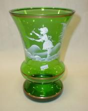 Mary Gregory style green glass vase. 8 3/8