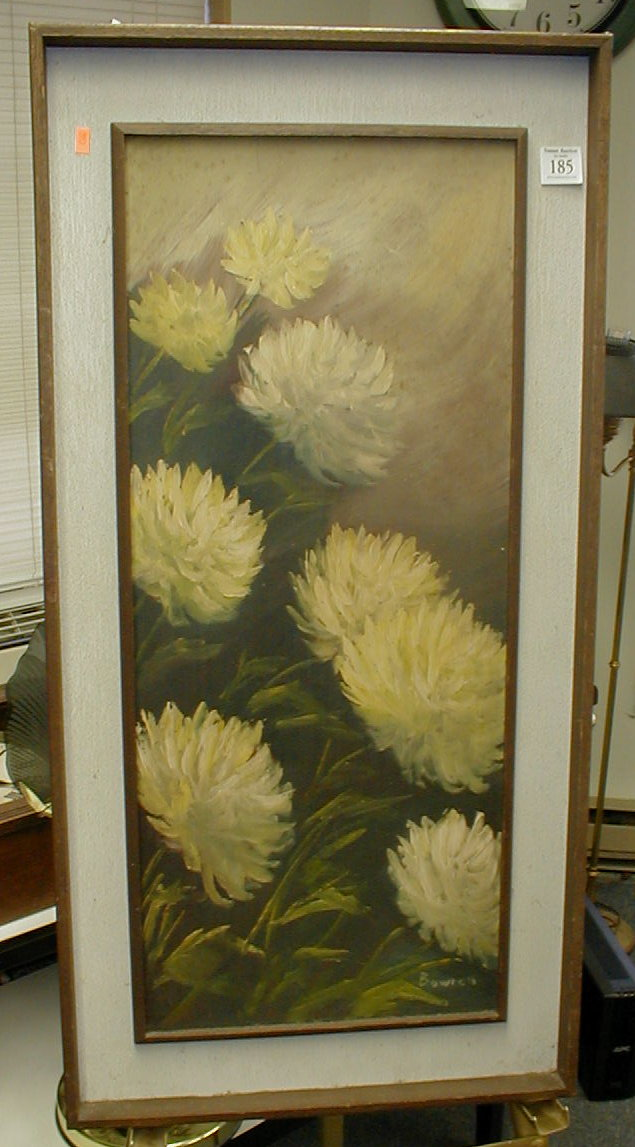 Hardboard Panel For Painting ~ Mid century floral still life painting on masonite panel by