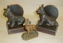 Pair of Vintage Scotty Dog bookends, and Glacier Park 2.5