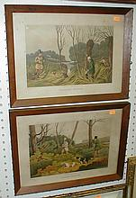 HENRY THOMAS ALKEN (1785-1851) PAIR OF CHROMOLITHOGRAPHS IN WALNUT FRAMES. PUBLISHED 1820 FRAMES ARE 16.25 X 12.25