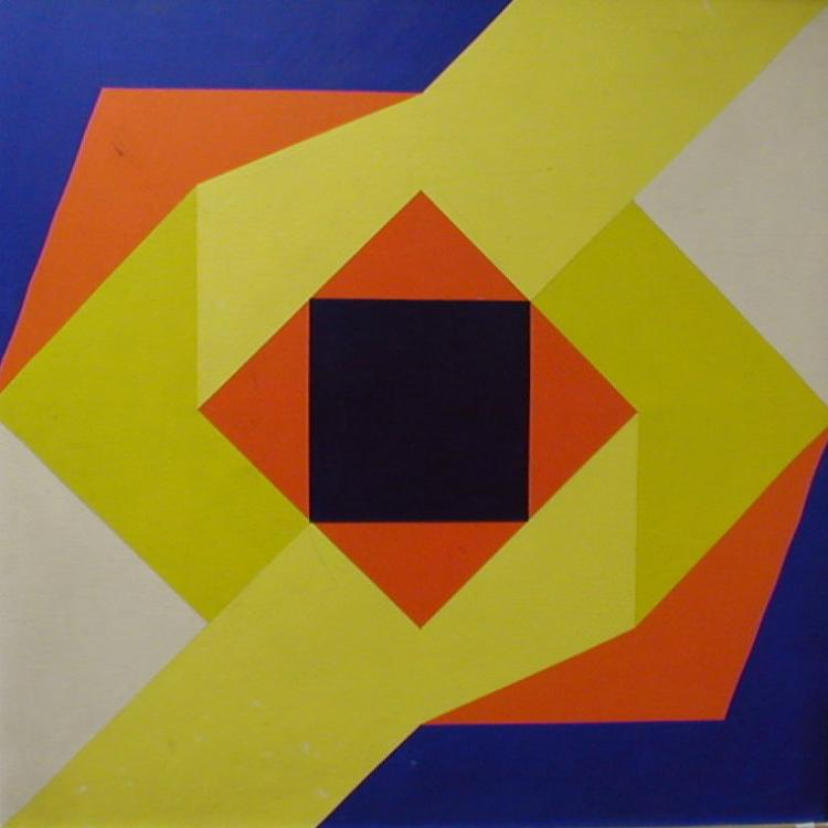 Hard edge abstract oil on canvas. In the style of artists such as Karl Benjamin, and Frederick Hammersley. Unsigned. ca 2nd half 20th century. 36 x 36