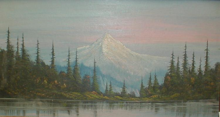 Landscape oil on panel of Mt. Hood with trees and lake in foreground. Unsigned. 12 x 21