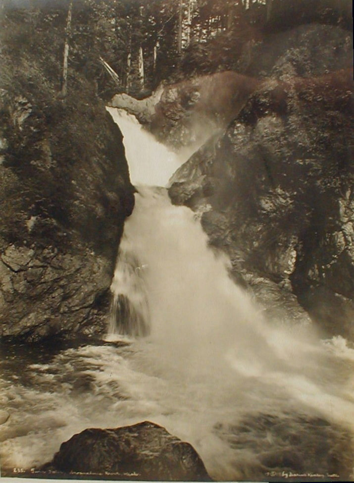 Darius Kinsey (1869-1945) Western WA photographer. 10x13 photo of Twin Falls Snoqualmie River Wash. C 1919. Displayed in new frame.. Glued to backing