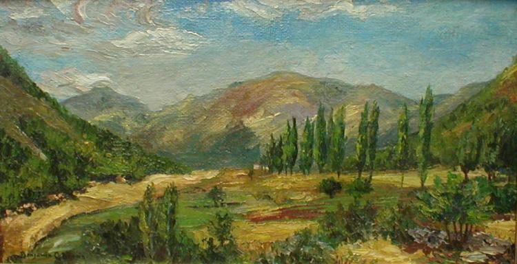 Benjamin Chambers Brown (1865- 1942,California artist): landscape oil painting on masonite panel. Signed lower left. 22.25