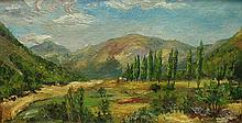 Benjamin Chambers Brown (1865- 1942,California artist): landscape oil painting on masonite panel. Signed lower left. 22.25