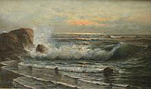 Nels Hagerup (1864-1922, Norwegian American. California artist) an ocean surf oil on heavy cardboard panel. Has part of Hunter Gallery label remaining on reverse. Signed Lower right. 17.5 x 29.5