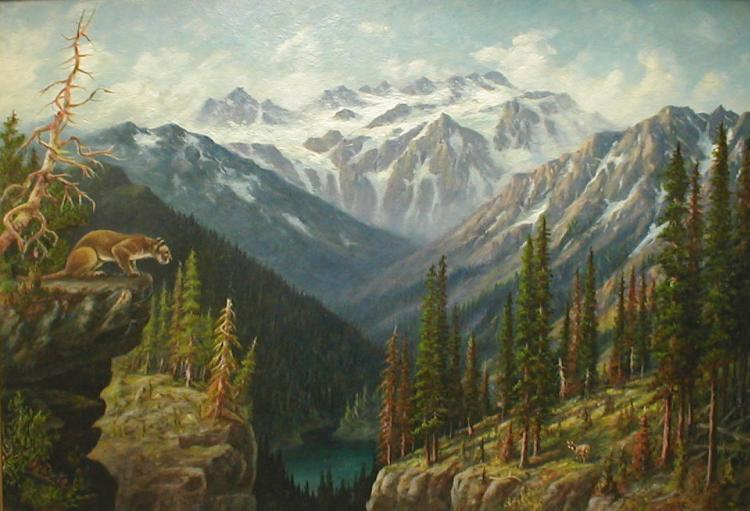 Leroy Updyke (1876-1959, Washington artist) landscape oil on panel depicting a mountain scene with mountain lion on a ledge. Appears to be Entiat area in central WA 22x32