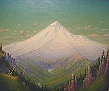James Everett Stuart (1852- 1941, American) oil on canvas board. No. 3097 of Mt. Hood and Head waters of Hood River Oregon. Painted Oct 21 1923. 20 x 24