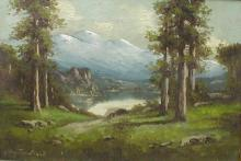 Richard DeTreville (1864-1929, American) landscape oil on canvas of lake and trees before mountains. 11x16