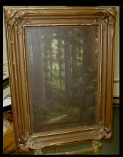 Richard DeTreville (1864-1929, American) Oil on canvas of a path through California red wood trees. Displayed in pie crust frame. Frame is 23.5 x 31