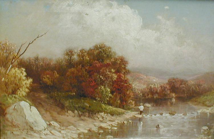 Hudson River Style oil on canvas. A river scene with a fisherman. Signed and dated lower left 1856. 11.5 x 17.5