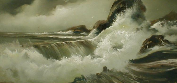 Hulan Fleming (b1933,American) Ocean surf oil on masonite panel. 11.5 x 23.5